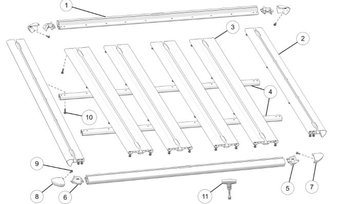 3-seat platform rack kit contents