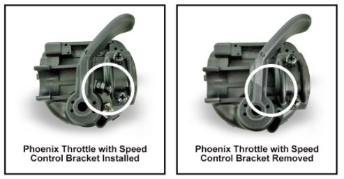 Throttle with and without speed control bracket