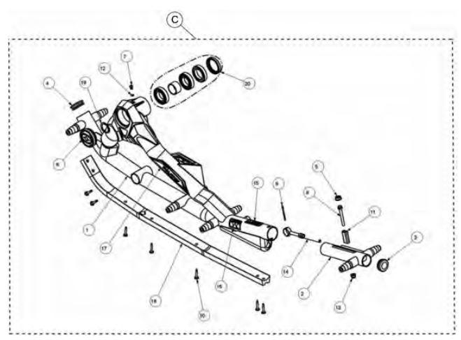 Rear left frame kit drawing