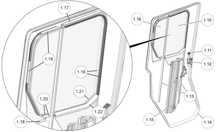 Manual Crank Window Rear Door drawing
