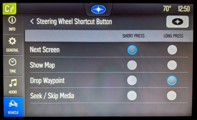shortcut button settings screen