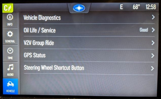vehicle settings