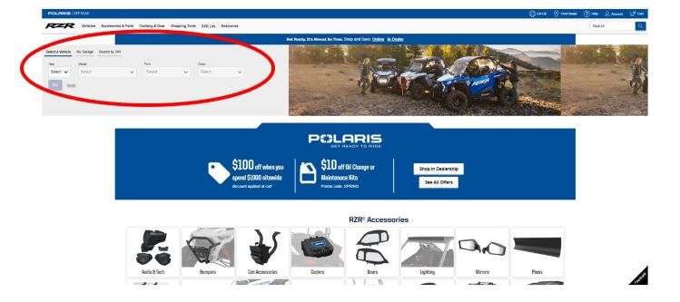 RZR accessory homepage