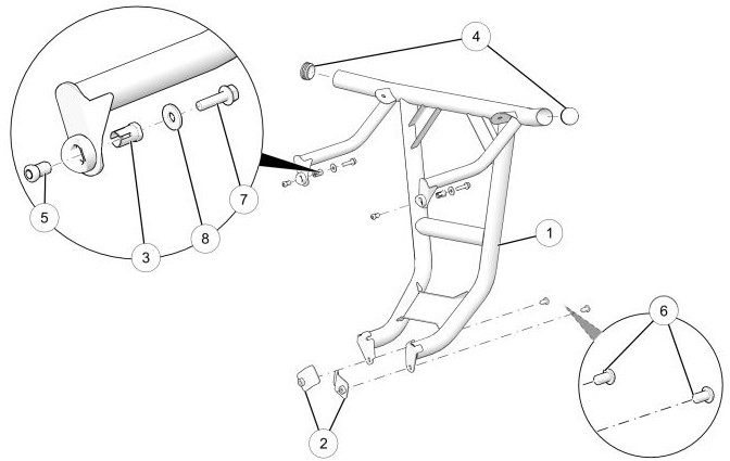 Rear low profile bumper drawing