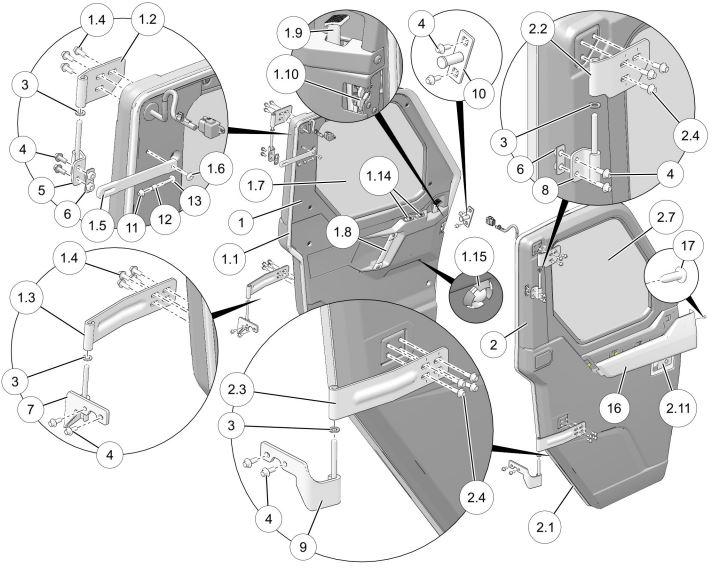 16 Polaris RZR XP 1000 OEM Left LH Plastic Door Plastic Pillar Cover black