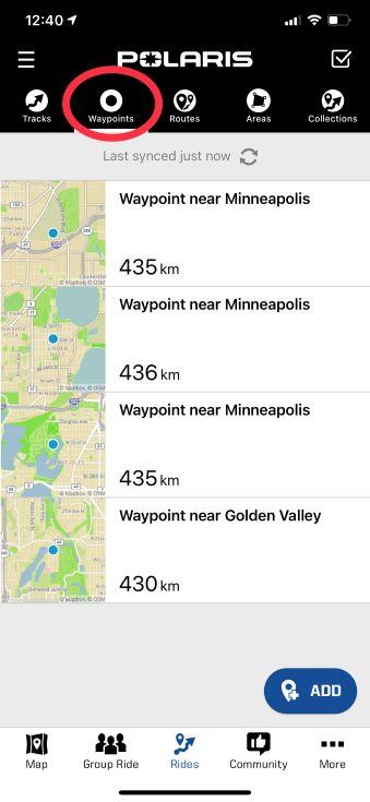 Waypoints tab