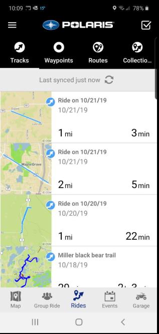 Rides tab