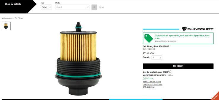 Slingshot oil filter