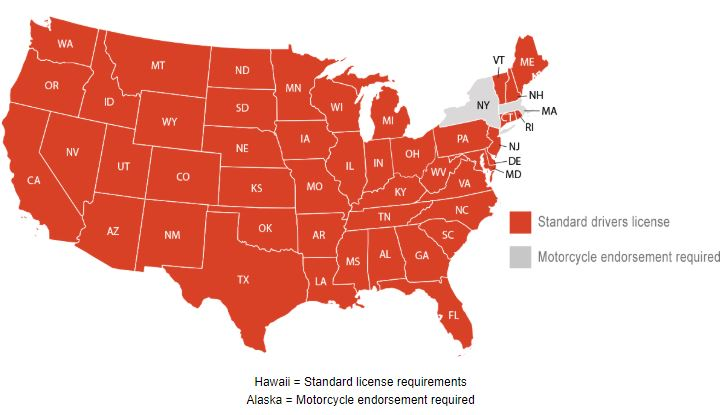 State by state license requirements map