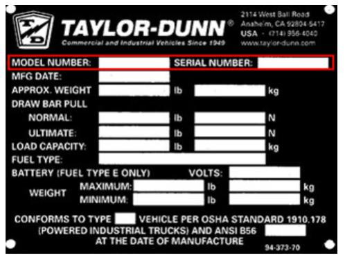 Taylor-Dunn data plate